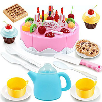 54pcs/set Play Plastic Food Set Kids Gift Birthday Cake with Cutting Knife Tea Pot and Cups Baby Toys