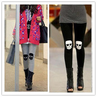 Womens Fashion Skull Knee Pants Skinny Leggings Stretch Cotton Slim Trousers