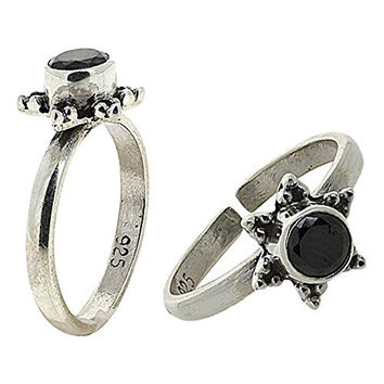 Silver Alloy Toe Rings for Women Adjustable Black Onyx Jewelry Indian