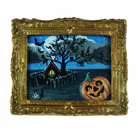 Miniature Original Acrylic Painting -Hello Halloween- NOT A PRINT