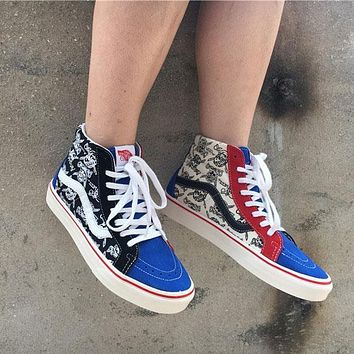 Sale Vans Sk8-Hi 50th Pirate Skull Head Sneakers Convas Casual Shoes