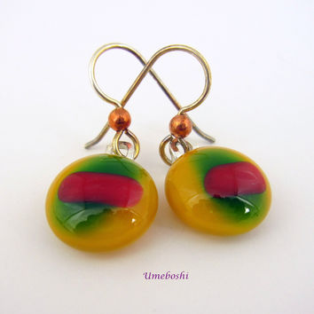 Fall Palette Fused Glass Round Dangle Earrings - Handmade Jewelry