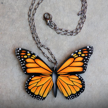 Acrylic Laser Cut Monarch Butterfly Wings Statement Necklace