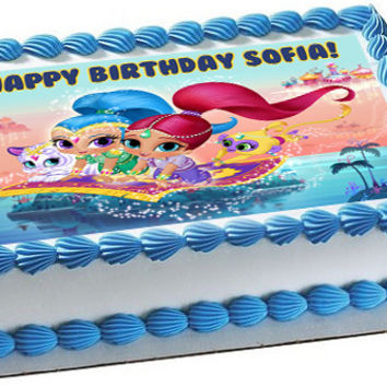 Shimmer and Shine Edible Birthday Cake Topper OR Cupcake Topper, Decor