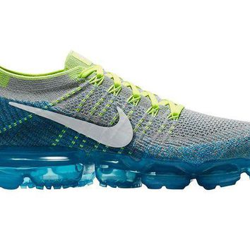 PEAPON Nike Men's Air Vapormax Flyknit, Wolf Grey/White-Chlorine Blue, 10.5 M US