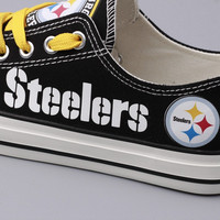 Custom Printed Low Top Canvas Shoes - Pittsburgh Steelers