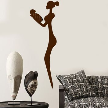 Vinyl Wall Decal African Woman With Baby Native Statue Stickers Unique Gift (1593ig)