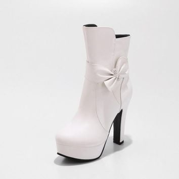 Bow Platform High Heel Women Boots 8916