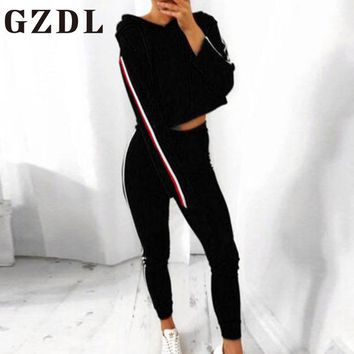 GZDL Two Pieces Set Hooded Long Sleeve Crop Top & High Waist Bodycon Pants Suit