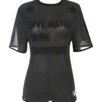 Clothing : Tops : 'Deon' 'Save Water Drink Champagne' Black Sheer Mesh Varsity T shirt