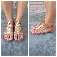 Cognac Diamond Link Sandals