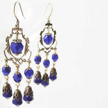 Victorian-Inspired Chandelier Earrings // Handcrafted, Cobalt  Czech Glass, Antique Brass, Bridal, Gothic, Steampunk