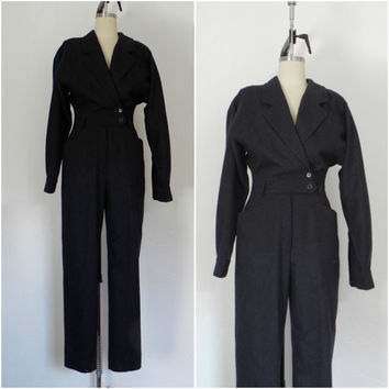 Escada Dark Grey Wool Jump Suit