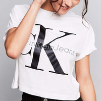 """Calvin Klein"" Round-neck Tops Crop Top Short-sleeve T-shirt"