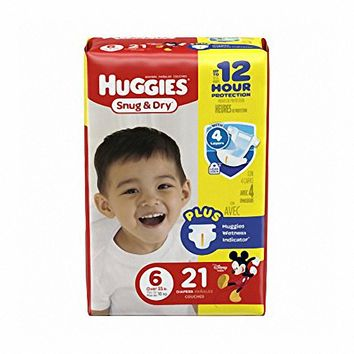 Size 6 Heavy Absorbency Snug & Dry Tab Closure Baby Diaper (Over 35 lbs) | Huggies #40674