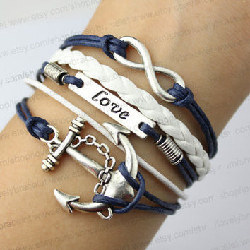 Love the anchor & infinity bracelets, infinite antique silver anchor bracelet hope, white woven and navy color wax rope bracelet