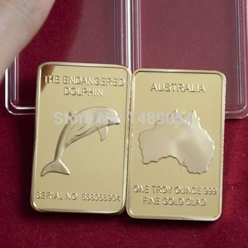 5 pcs The Rare endanger animal dolphin 24k real gold plated bullion bar Australia souvenir coin