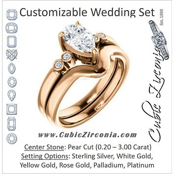 CZ Wedding Set, featuring The Luzella engagement ring (Customizable 5-stone Design with Pear Cut Center and Round Bezel Accents)