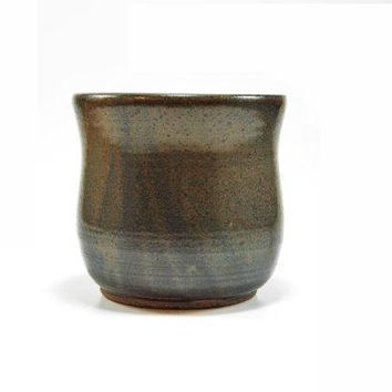 Dark brown pottery tumbler, stoneware cup, ceramic juice cup, handle less mug, pottery water glass, stemless wine glass - Ready to ship!