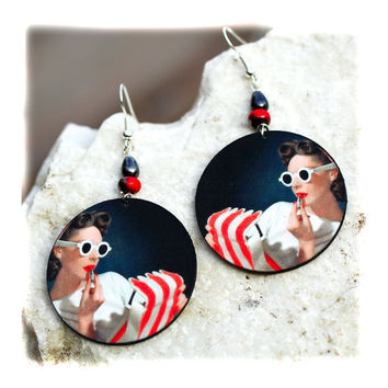 17$ Pin up girl Earrings Retro funky by MADEbyMADA