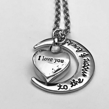 I Love You Urn, Heart Urn, Moon Urn Locket, Ashes Holder Necklace, Cremation Locket, Memory Locket, Cremation Jewelry, Heart Locket