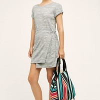 Maeve Wrapped Tee Dress in Light Grey Size:
