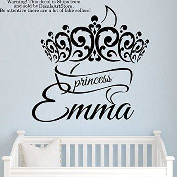 Princess Crown Girls Wall Decals Custom Personalized Name Sticker Tiara Room Vinyl Decal Baby Kids Nursery Children's Decor Art Mural SM188