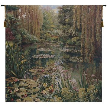 Monet's Garden without Border I Belgian Tapestry Wall Art