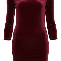 Velvet Scoop Back Bodycon Dress