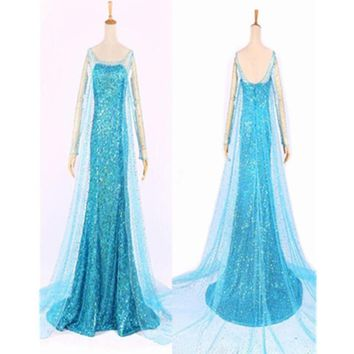 Elsa costume adult princess elsa dress cosplay blue plus size halloween costume for women snow queen cosplay Party Formal Dress