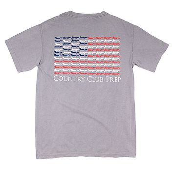 Longshanks Stars and Stripes Tee Shirt in Grey by Country Club Prep