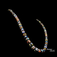 "Glass Bead Necklace From Borneo.NEW BEADS.Traditional Tribal Dayak Currency Trade Bead Designs Bohemian Patterned Dark Beads 14""L/3.2oz"