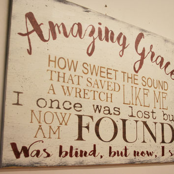 Amazing Grace Wood Sign Christian Wall Art Shabby Chic Wall Decor Vintage Farmhouse Cottage Chic Distressed Wood Sign Handmade Home Decor
