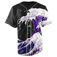 Lean Wave Button Up Baseball Jersey