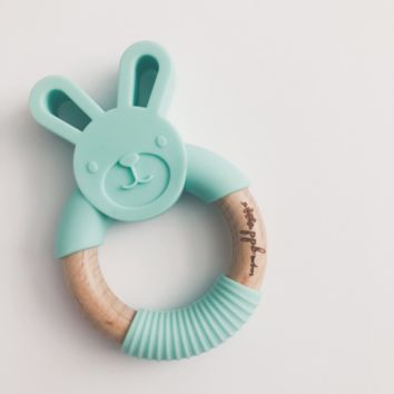 Bunny Ring Teether - Mint Green