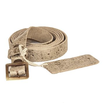 Single Wrap Skinny Belt | Genuine Leather - Gold on Sand Colored Leather with Antique Silver
