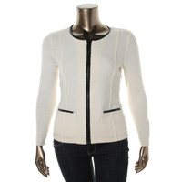 Alfani Womens Merino Wool Faux Leather Full Zip Sweater