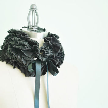 Black ruffled collar/ Detachable collar/ More colors/ rusteam