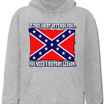 Rebel & Redneck Sweatshirts - Confederate Flag History Lesson Hoodie #312 (Adult X-Large, Light Grey)