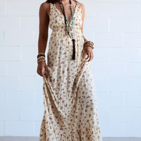 Mystic River Floral Maxi Dress - Cream