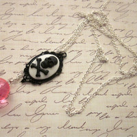 Extra Long Cameo Necklace, Pink Bead Necklace, Skull Cameo Necklace, Hot Pink Necklace, Long Skull Necklace, Skull Crossbones Necklace