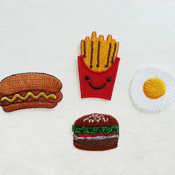 Hot Dog, Burger, fried egg, French fries Embroidered Iron on Patch -  Food Set Iron on Patch