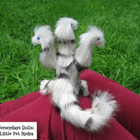 "Little Pet Hydra ""Noble"" posable doll by Jerseydays faux fur plush dragon cute fantasy animal gift box"