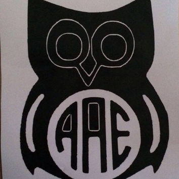 Owl Monogram, Car Decal, Monogram Gift