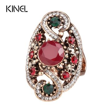 Hot Fashion Turkish Jewelry Dubai Color Gold Ring Red Resin Wedding Rings For Women Best Friend's Gift 2017 New