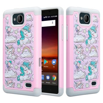 ZTE Majesty Pro Case, ZTE Tempo, Z799VL, N9131, Slim Hybrid Crystal Rhinestone Dual Layer [Shock Resistant] Protective Cover - Pink Unicorn