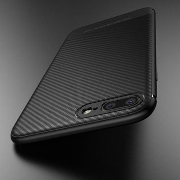 Carbon Fiber Luxury Case for iphone 7 plus Silicon thin Back Soft TPU Accessories Cover Coque for iphone 7 plus Case iphone7