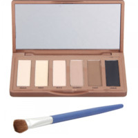 6 Dazzling Colors Eyeshadows (colors inspired by Urban Decay pallets) and Brush