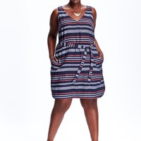 Old Navy Womens Plus Striped Linen Blend Dresses