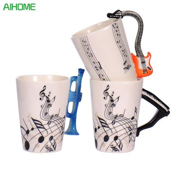 2017 New Fashion Guitar Ceramic Cup Personality Music Note Milk Juice Lemon Mug Coffee Tea Cup Home Office Drinkware Unique Gift